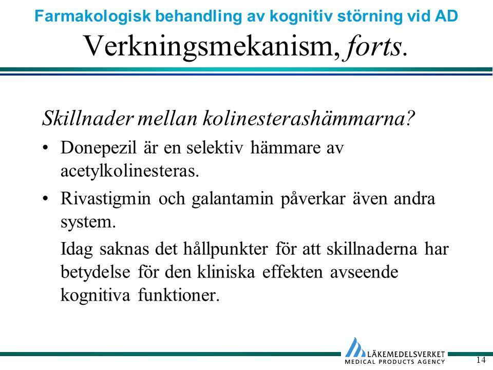 Farmakologisk behandling av kognitiv störning vid AD 14 Verkningsmekanism, forts.