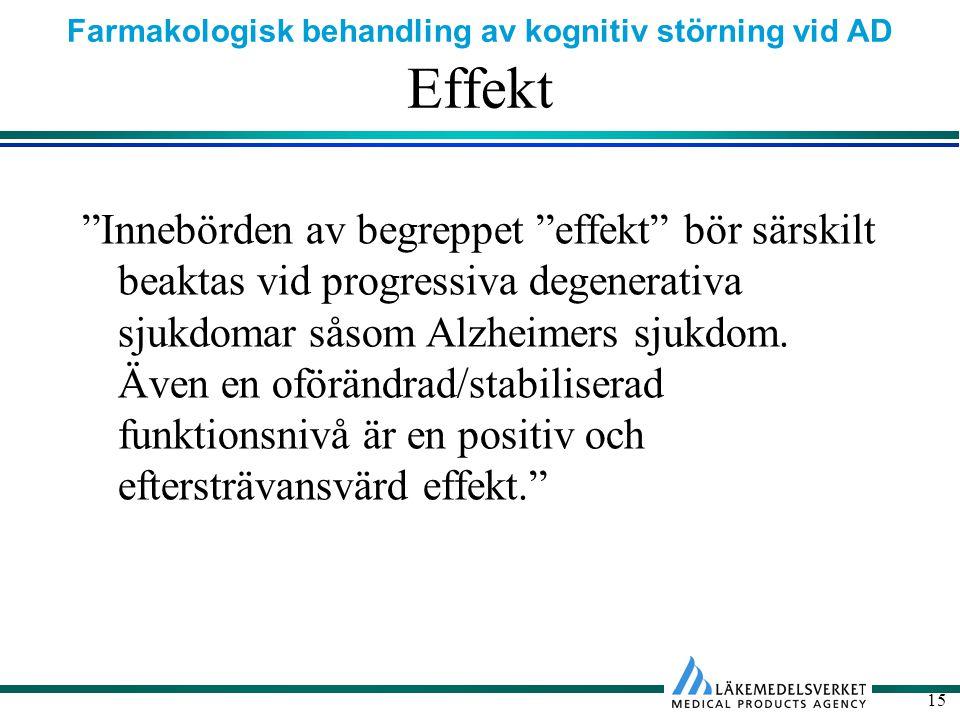 Farmakologisk behandling av kognitiv störning vid AD 15 Effekt Innebörden av begreppet effekt bör särskilt beaktas vid progressiva degenerativa sjukdomar såsom Alzheimers sjukdom.