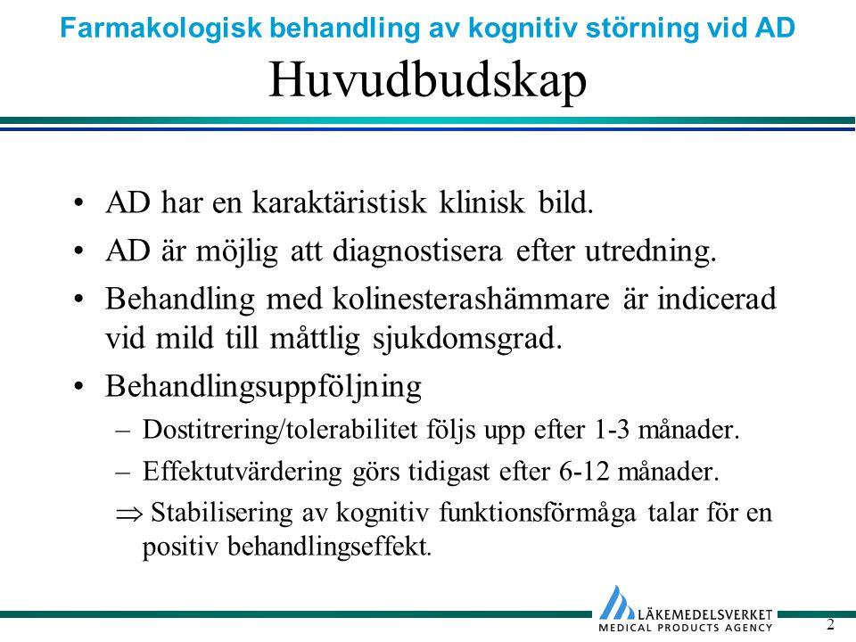 Farmakologisk behandling av kognitiv störning vid AD 2 Huvudbudskap AD har en karaktäristisk klinisk bild.