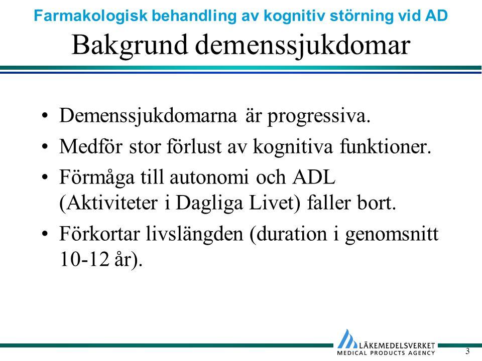 Farmakologisk behandling av kognitiv störning vid AD 24 Biverkningar Perifera kolinerga biverkningar från ffa mag- tarmkanalen (kräkningar, diarré, dyspepsi).