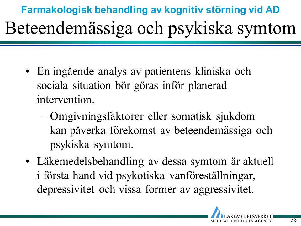 Farmakologisk behandling av kognitiv störning vid AD 38 Beteendemässiga och psykiska symtom En ingående analys av patientens kliniska och sociala situation bör göras inför planerad intervention.