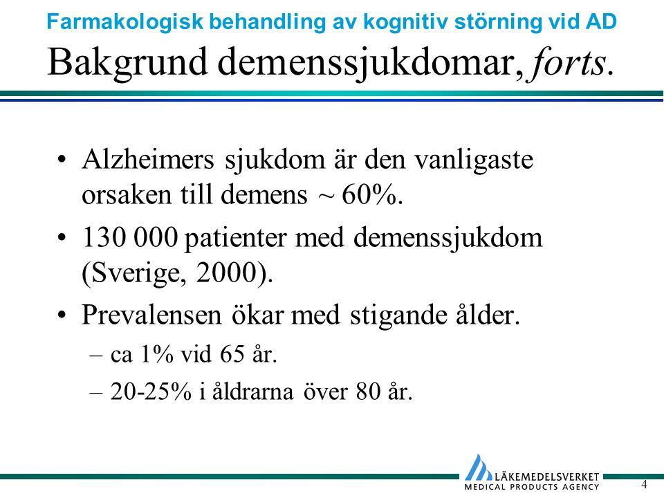 Farmakologisk behandling av kognitiv störning vid AD 25 Definition av patientgrupp Behandling med kolinesterashämmare är indicerad vid mild till måttlig Alzheimers sjukdom.