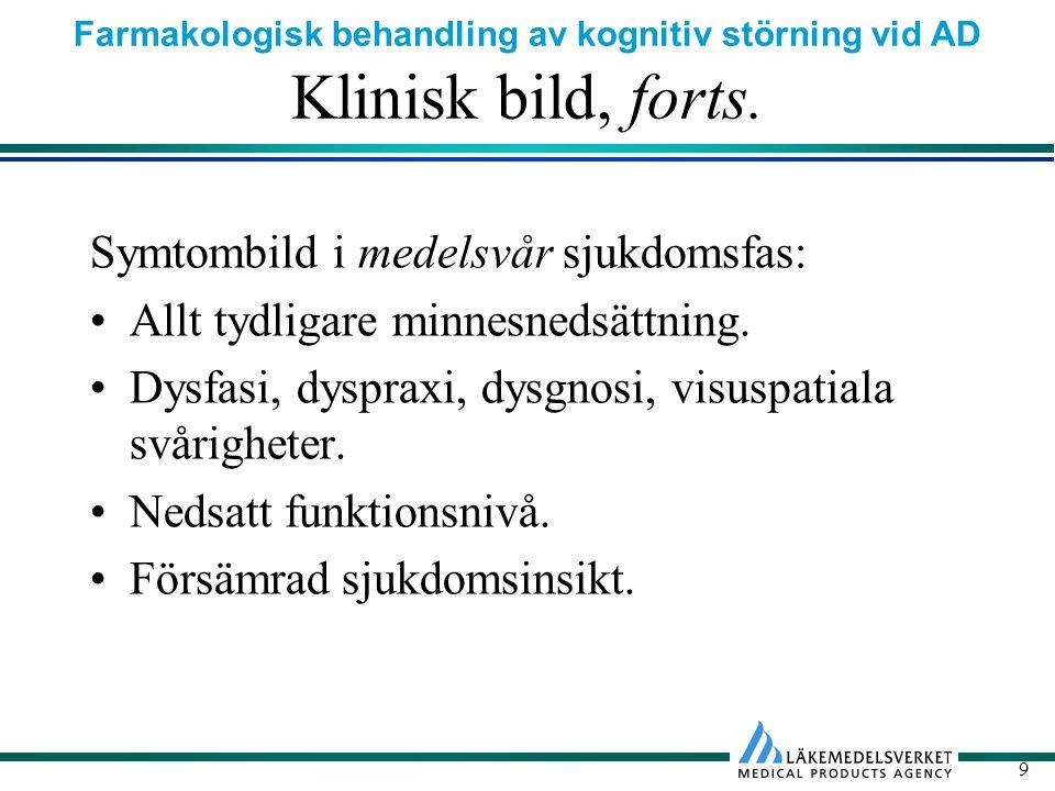 Farmakologisk behandling av kognitiv störning vid AD 9 Klinisk bild, forts.