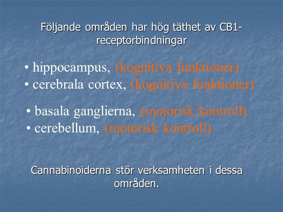 psykomotorisk kontroll, minne, sömn subjektiv perception Anandamid (N-arachidonoyl ethanolamine) 1992 tomhets känslor efter cannabismissbruk kan bero