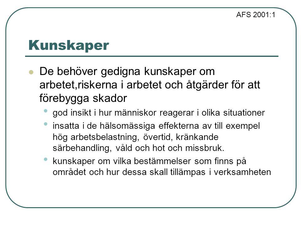 AFS 2001:1 Kunskaper De behöver gedigna kunskaper om arbetet,riskerna i arbetet och åtgärder för att förebygga skador god insikt i hur människor reage