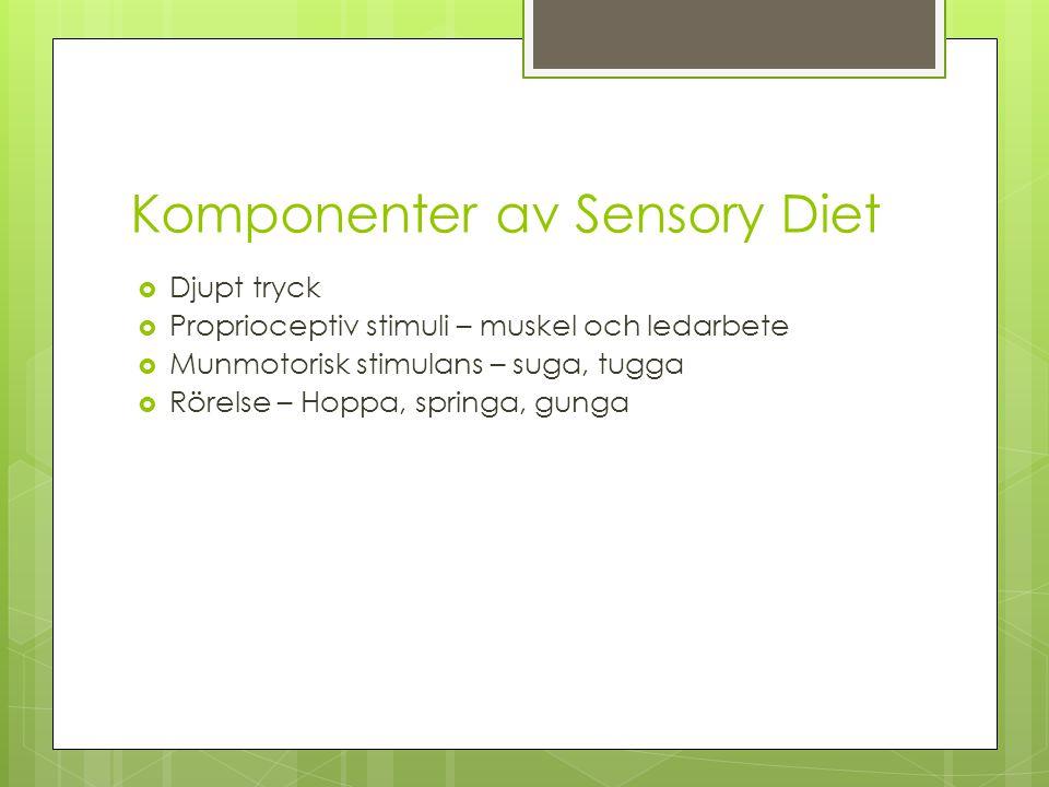 Komponenter av Sensory Diet  Djupt tryck  Proprioceptiv stimuli – muskel och ledarbete  Munmotorisk stimulans – suga, tugga  Rörelse – Hoppa, springa, gunga