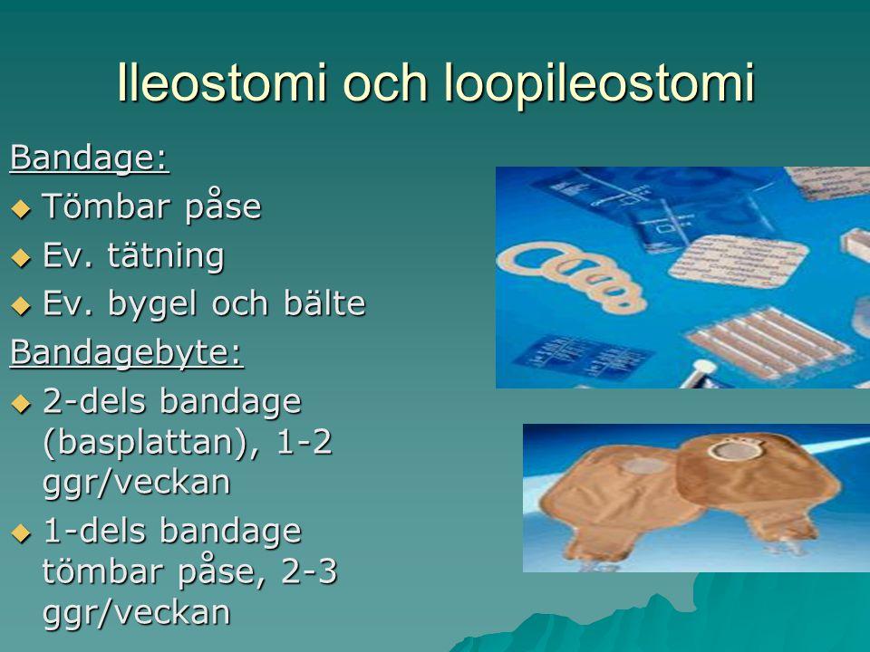 Ileostomi och loopileostomi Bandage:  Tömbar påse  Ev.