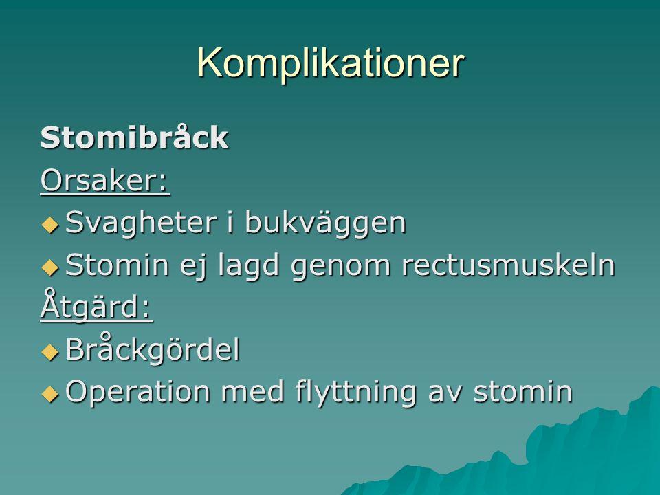Komplikationer StomibråckOrsaker:  Svagheter i bukväggen  Stomin ej lagd genom rectusmuskeln Åtgärd:  Bråckgördel  Operation med flyttning av stomin