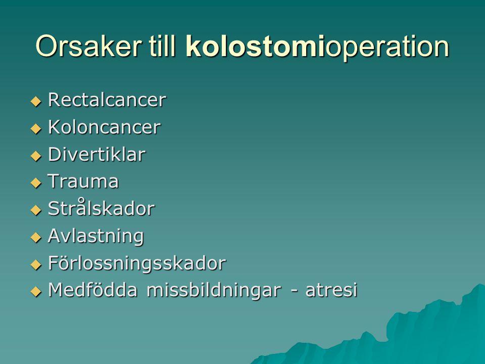 Orsaker till kolostomioperation  Rectalcancer  Koloncancer  Divertiklar  Trauma  Strålskador  Avlastning  Förlossningsskador  Medfödda missbildningar - atresi