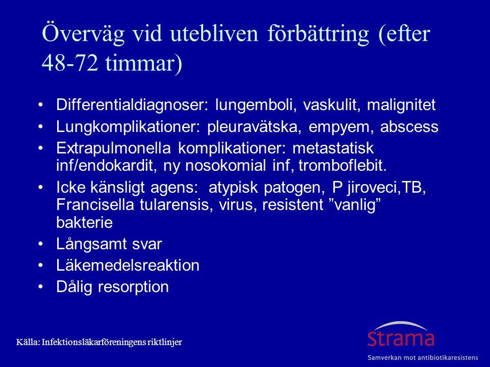 Överväg vid utebliven förbättring (efter 48-72 timmar) Differentialdiagnoser: lungemboli, vaskulit, malignitet Lungkomplikationer: pleuravätska, empyem, abscess Extrapulmonella komplikationer: metastatisk inf/endokardit, ny nosokomial inf, tromboflebit.