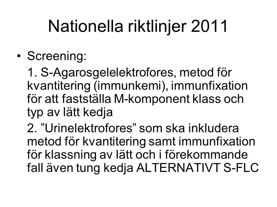 Nationella riktlinjer 2011 Screening: 1. S-Agarosgelelektrofores, metod för kvantitering (immunkemi), immunfixation för att fastställa M-komponent kla