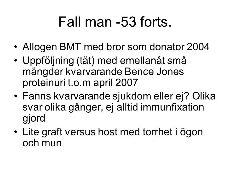 Fall man -53 forts.FLC analys av värde för att monitorera om sjukdom kvar.