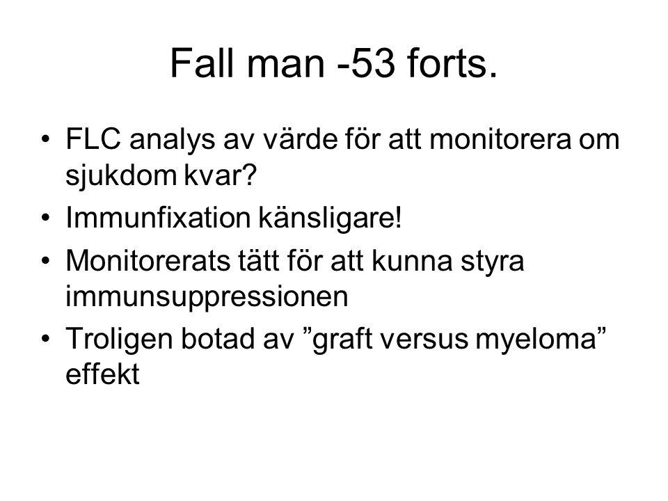Fall man -53 forts. FLC analys av värde för att monitorera om sjukdom kvar? Immunfixation känsligare! Monitorerats tätt för att kunna styra immunsuppr