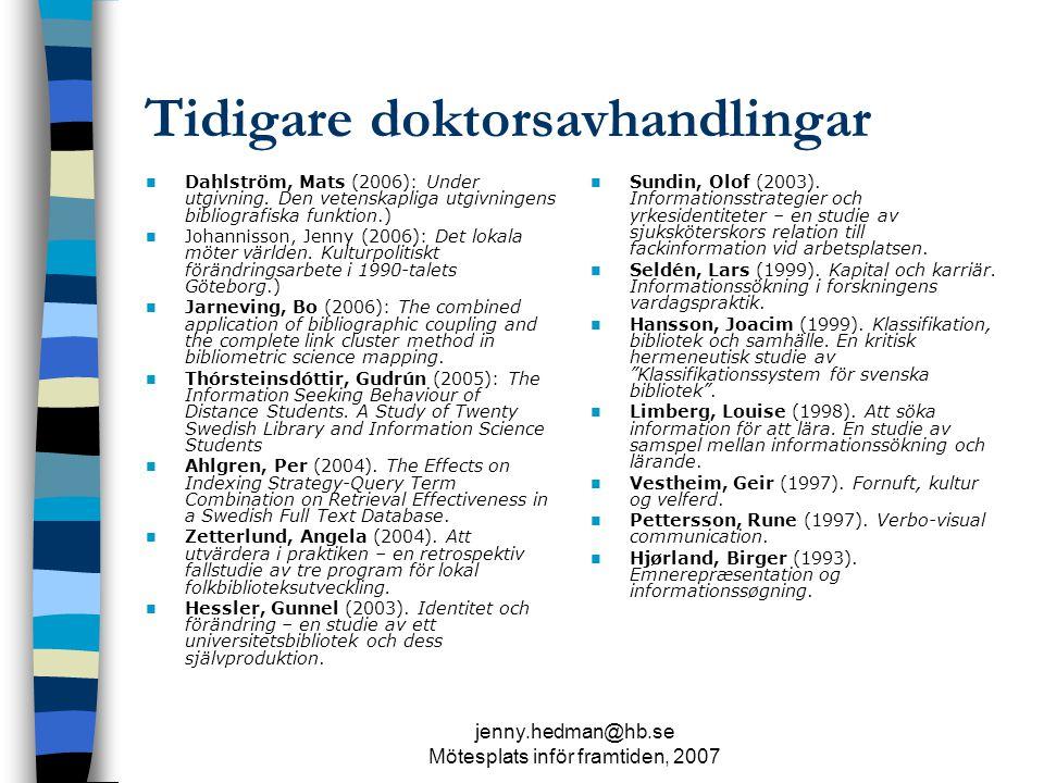 jenny.hedman@hb.se Mötesplats inför framtiden, 2007 Avhandlingar på gång : ett axplock Folkbibliotek och läsande i Sverige, 1900- 1940.