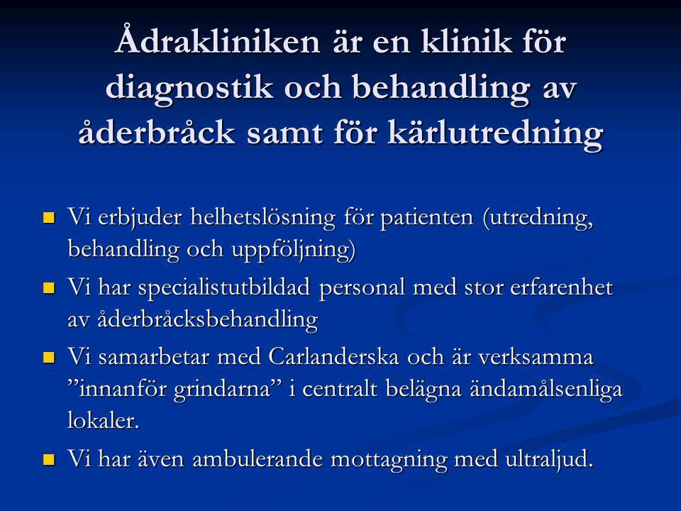 Symptom vid åderbråck Subjektiva besvär Subjektiva besvär Flebiter (ytliga tromboser) Flebiter (ytliga tromboser) Hudpåverkan Hudpåverkan