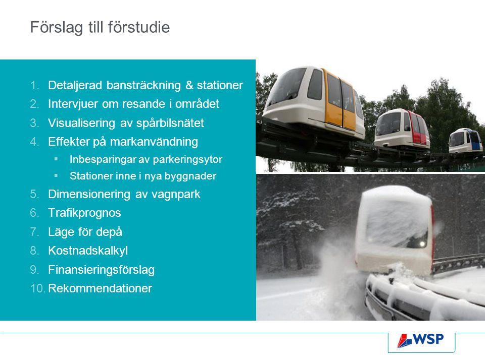 Förslag till förstudie 1.Detaljerad bansträckning & stationer 2.Intervjuer om resande i området 3.Visualisering av spårbilsnätet 4.Effekter på markanv