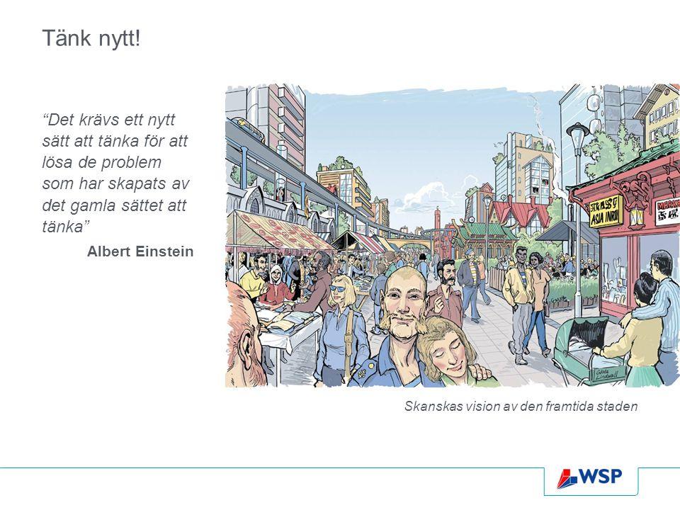 """Tänk nytt! """"Det krävs ett nytt sätt att tänka för att lösa de problem som har skapats av det gamla sättet att tänka"""" Albert Einstein Skanskas vision a"""