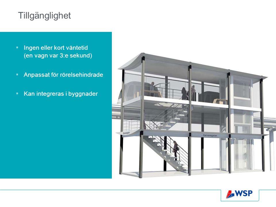 Tillgänglighet  Ingen eller kort väntetid (en vagn var 3:e sekund)  Anpassat för rörelsehindrade  Kan integreras i byggnader