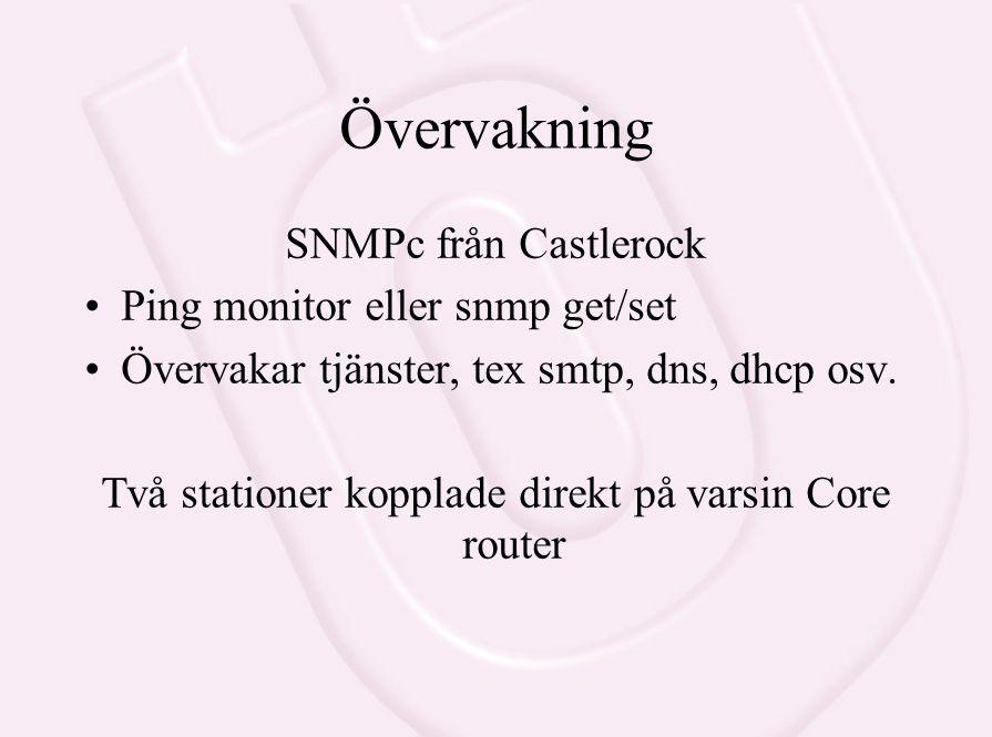 Övervakning SNMPc från Castlerock Ping monitor eller snmp get/set Övervakar tjänster, tex smtp, dns, dhcp osv. Två stationer kopplade direkt på varsin