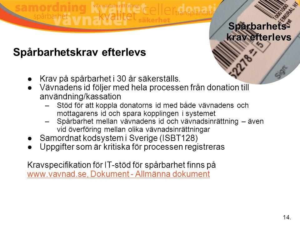 Spårbarhetskrav efterlevs ●Krav på spårbarhet i 30 år säkerställs. ●Vävnadens id följer med hela processen från donation till användning/kassation –St
