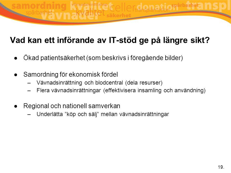 Vad kan ett införande av IT-stöd ge på längre sikt? ●Ökad patientsäkerhet (som beskrivs i föregående bilder) ●Samordning för ekonomisk fördel –Vävnads