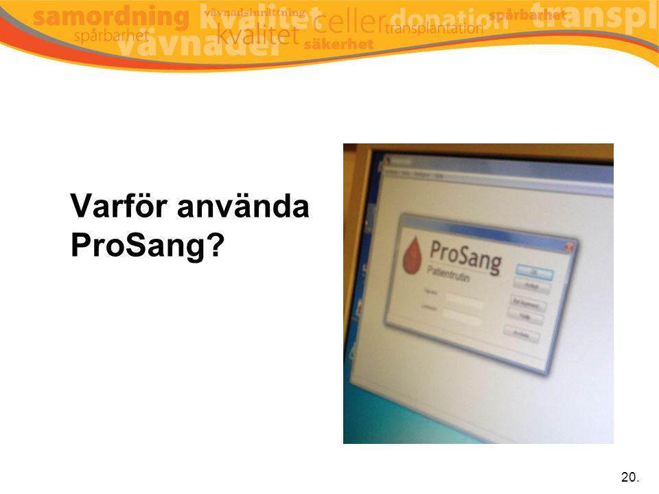Varför använda ProSang? 20.