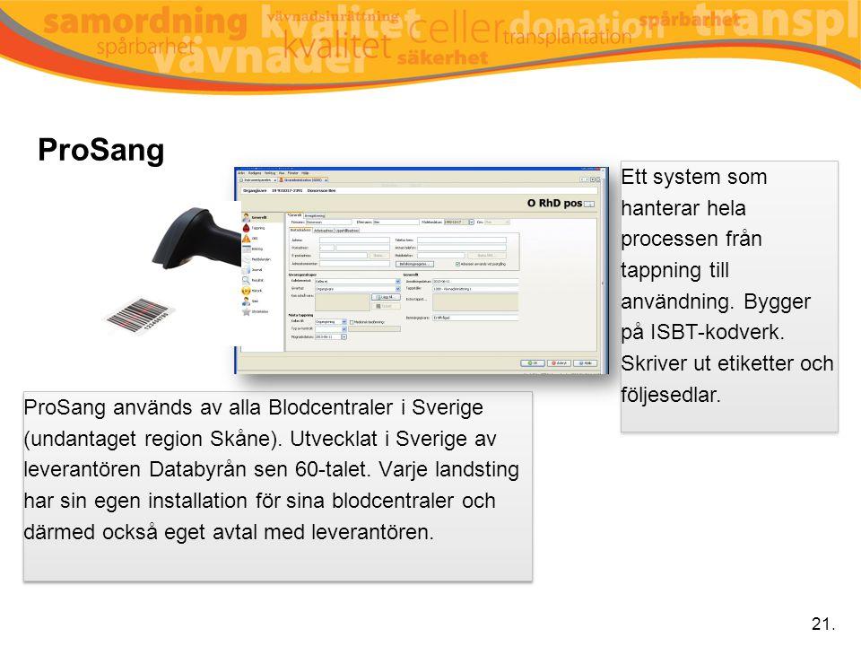 ProSang ProSang används av alla Blodcentraler i Sverige (undantaget region Skåne). Utvecklat i Sverige av leverantören Databyrån sen 60-talet. Varje l