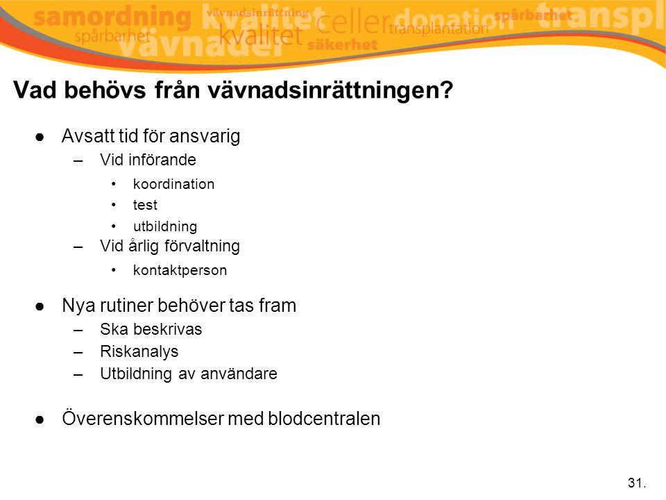 Vad behövs från vävnadsinrättningen? ●Avsatt tid för ansvarig –Vid införande koordination test utbildning –Vid årlig förvaltning kontaktperson ●Nya ru