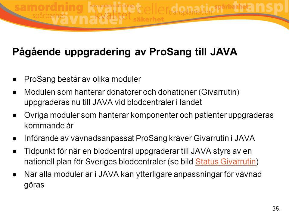 Pågående uppgradering av ProSang till JAVA ●ProSang består av olika moduler ●Modulen som hanterar donatorer och donationer (Givarrutin) uppgraderas nu