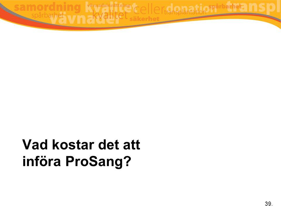 Vad kostar det att införa ProSang? 39.