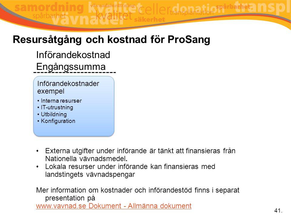 Resursåtgång och kostnad för ProSang 41. Införandekostnader exempel Interna resurser IT-utrustning Utbildning Konfiguration Årliga kostnader exempel L
