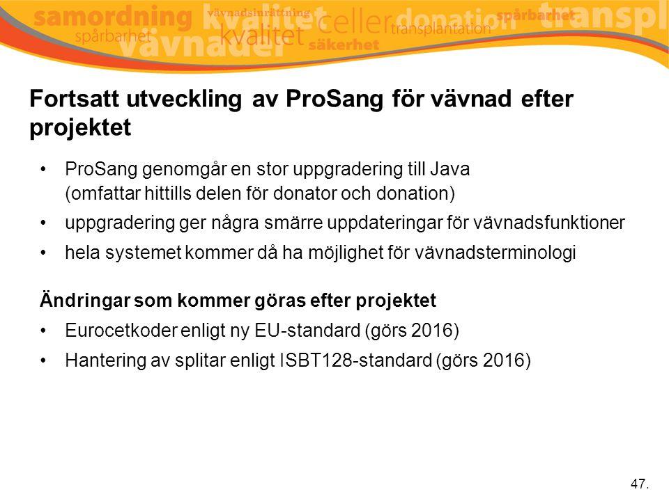 Fortsatt utveckling av ProSang för vävnad efter projektet 47. ProSang genomgår en stor uppgradering till Java (omfattar hittills delen för donator och