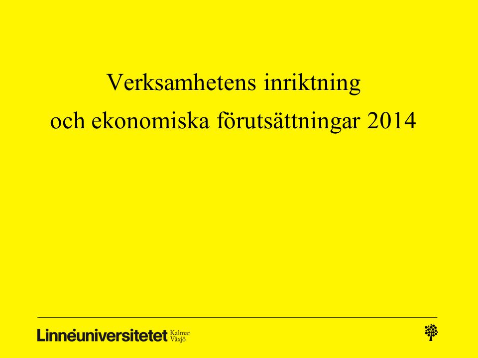 Verksamhetens inriktning och ekonomiska förutsättningar 2014