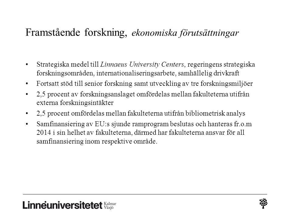 Framstående forskning, ekonomiska förutsättningar Strategiska medel till Linnaeus University Centers, regeringens strategiska forskningsområden, inter