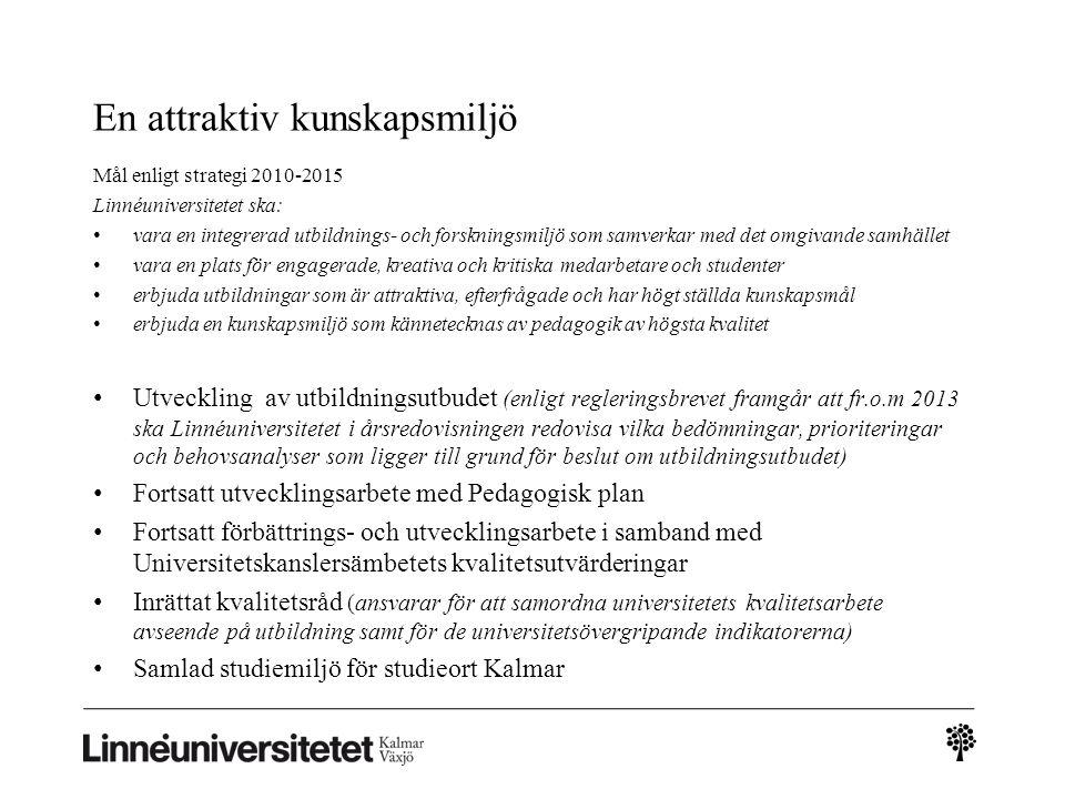 En attraktiv kunskapsmiljö Mål enligt strategi 2010-2015 Linnéuniversitetet ska: vara en integrerad utbildnings- och forskningsmiljö som samverkar med