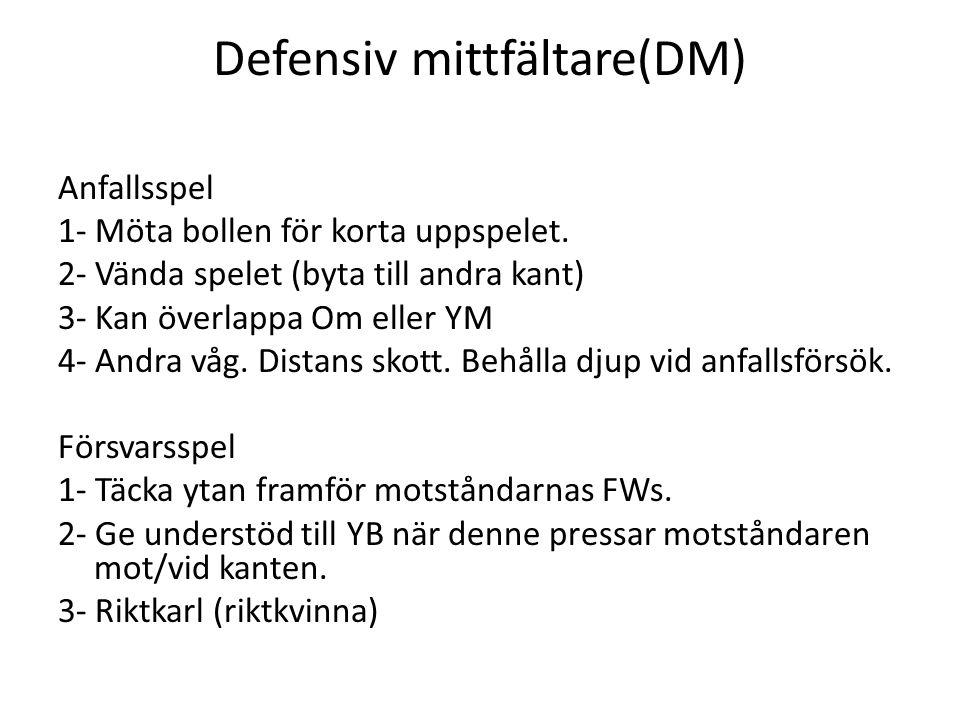Defensiv mittfältare(DM) Anfallsspel 1- Möta bollen för korta uppspelet. 2- Vända spelet (byta till andra kant) 3- Kan överlappa Om eller YM 4- Andra