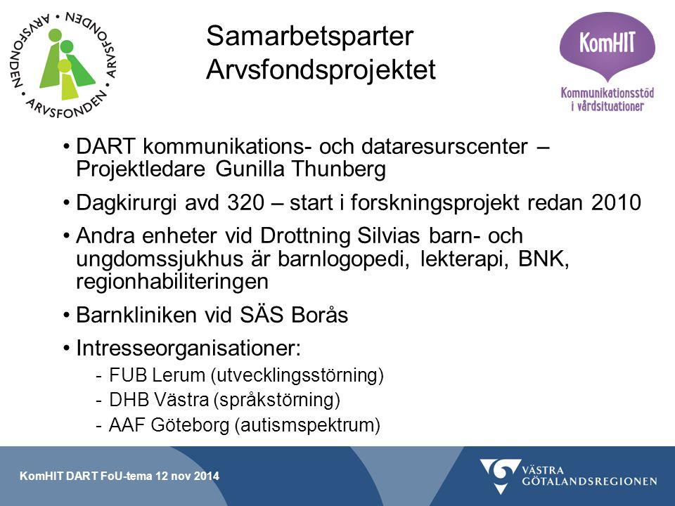 Smakprov på våra webb-resurser www.kom-hit.se www.bildstod.se www.kom-hit.se www.bildstod.se Några länkar till information: http://www.sahlgrenska.se/sv/SU/Aktuellt/Nyheter/suNytt/Bi lder-viktiga-for-barns-delaktighet-i-varden/http://www.sahlgrenska.se/sv/SU/Aktuellt/Nyheter/suNytt/Bi lder-viktiga-for-barns-delaktighet-i-varden/ http://sas.vgregion.se/sv/Sodra-Alvsborgs- Sjukhus/SAS/Nyheter/Nyheter-2014/Bilder-hjalper-barn- infor-smartsamma-behandlingar/http://sas.vgregion.se/sv/Sodra-Alvsborgs- Sjukhus/SAS/Nyheter/Nyheter-2014/Bilder-hjalper-barn- infor-smartsamma-behandlingar/ KomHIT DART FoU-tema 12 nov 2014
