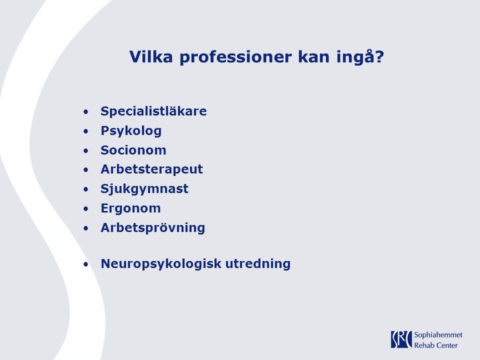 Specialistläkare Psykolog Socionom Arbetsterapeut Sjukgymnast Ergonom Arbetsprövning Neuropsykologisk utredning Vilka professioner kan ingå?