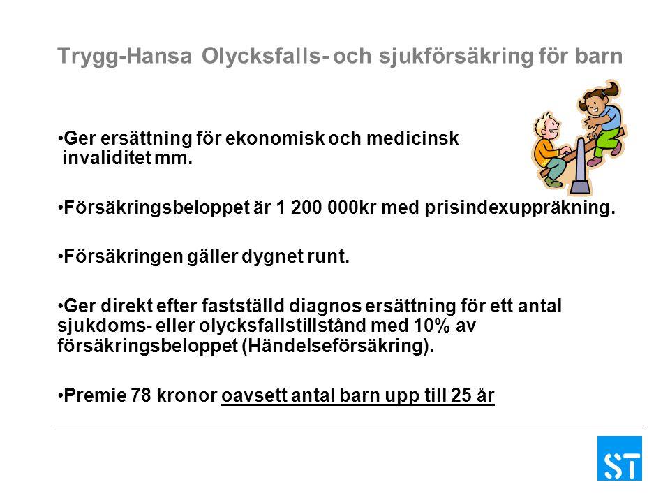 Trygg-Hansa Olycksfalls- och sjukförsäkring för barn Ger ersättning för ekonomisk och medicinsk invaliditet mm. Försäkringsbeloppet är 1 200 000kr med