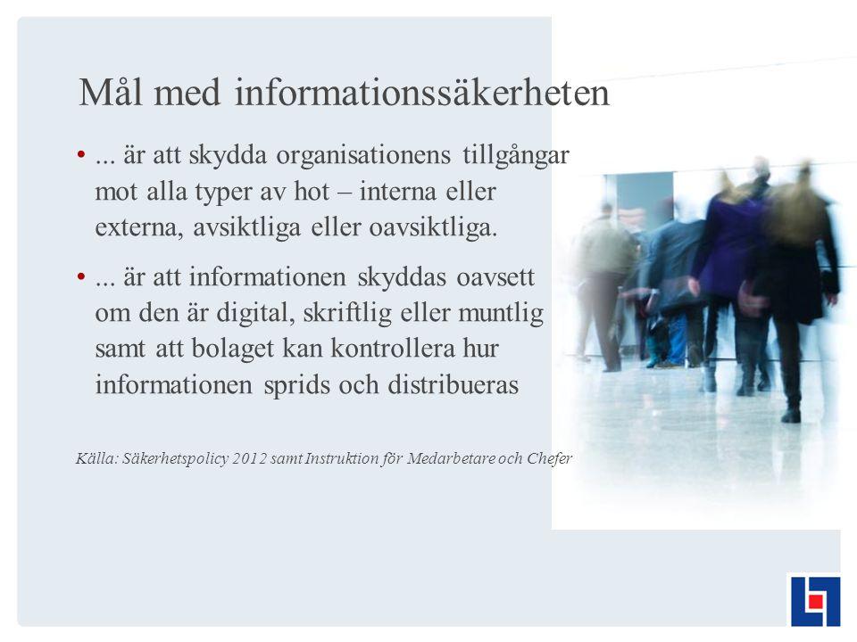 Mål med informationssäkerheten...
