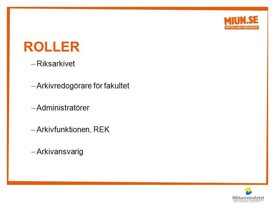 ROLLER –Riksarkivet –Arkivredogörare för fakultet –Administratörer –Arkivfunktionen, REK –Arkivansvarig