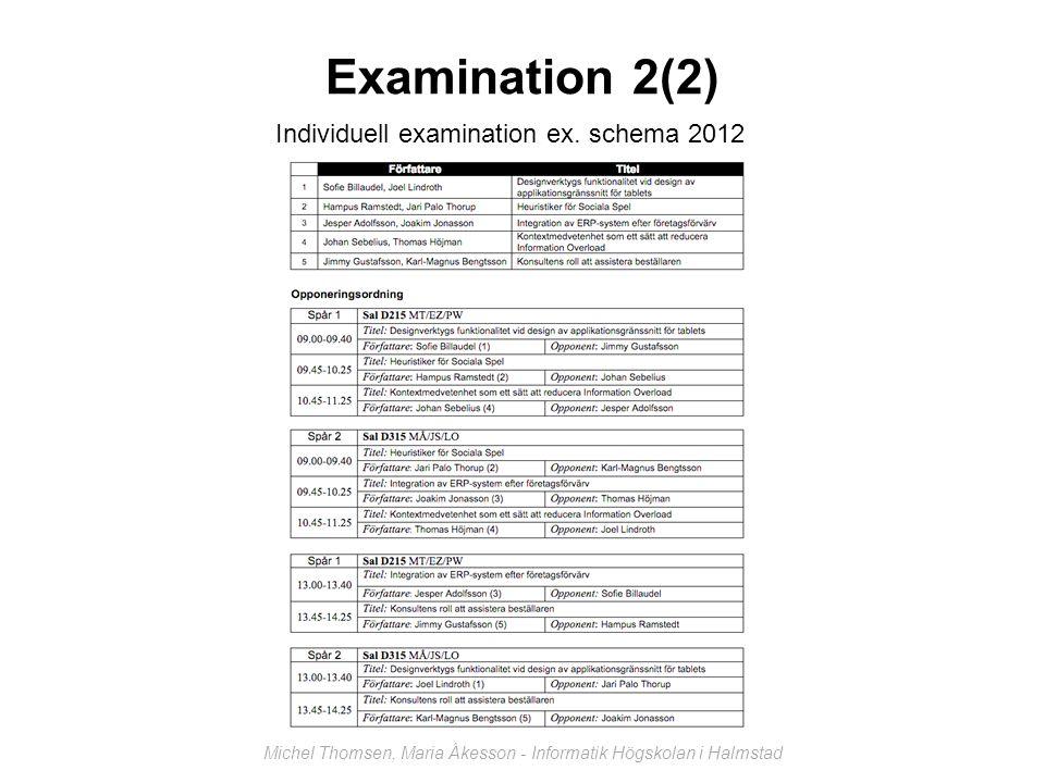 Examination 2(2) Michel Thomsen, Maria Åkesson - Informatik Högskolan i Halmstad Individuell examination ex.