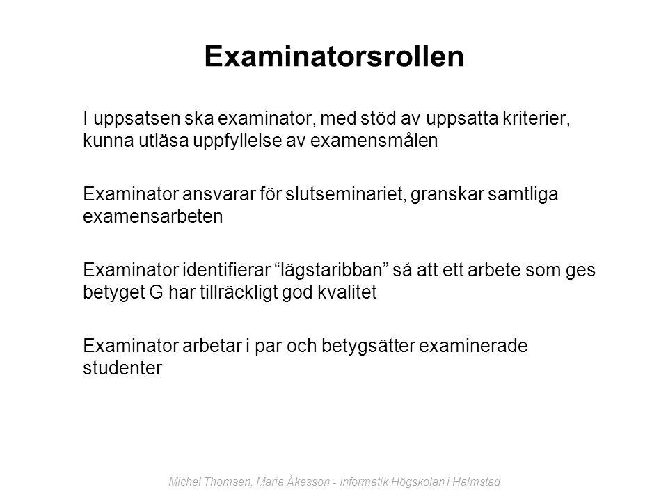 Examinatorsrollen I uppsatsen ska examinator, med stöd av uppsatta kriterier, kunna utläsa uppfyllelse av examensmålen Examinator ansvarar för slutseminariet, granskar samtliga examensarbeten Examinator identifierar lägstaribban så att ett arbete som ges betyget G har tillräckligt god kvalitet Examinator arbetar i par och betygsätter examinerade studenter Michel Thomsen, Maria Åkesson - Informatik Högskolan i Halmstad