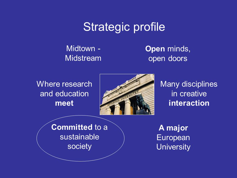 Midtown - Midstream Open minds, open doors Many disciplines in creative interaction A major European University Committed to a sustainable society Where research and education meet Strategic profile