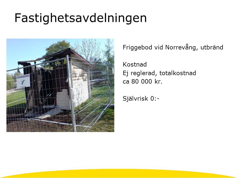 Fastighetsavdelningen Friggebod vid Norrevång, utbränd Kostnad Ej reglerad, totalkostnad ca 80 000 kr.