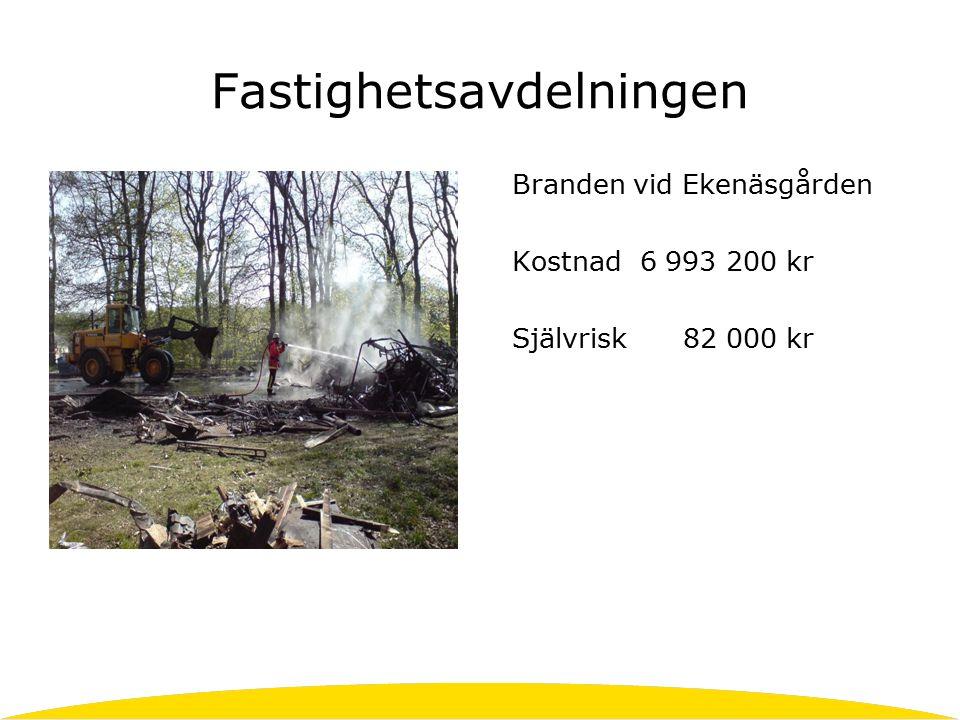 Fastighetsavdelningen Branden vid Ekenäsgården Kostnad 6 993 200 kr Självrisk 82 000 kr