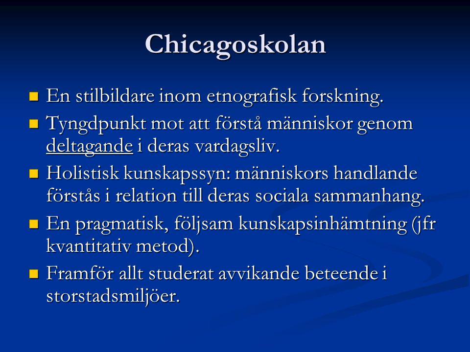 Chicagoskolan En stilbildare inom etnografisk forskning.