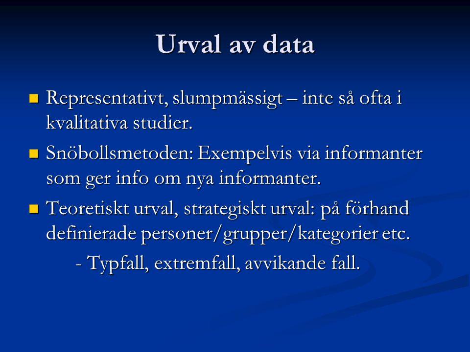 Urval av data Representativt, slumpmässigt – inte så ofta i kvalitativa studier.