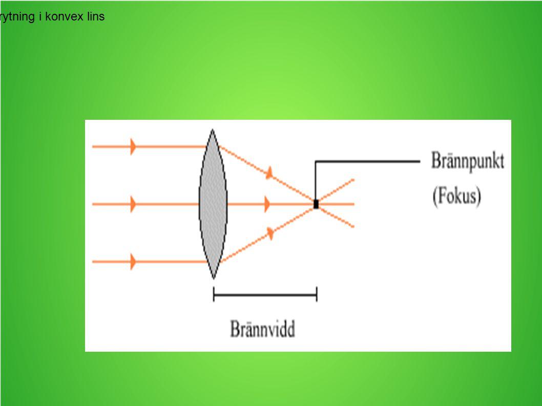 Ljusets brytning i konvex lins