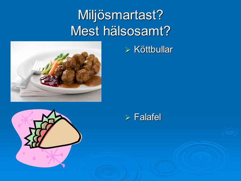 Miljösmartast? Mest hälsosamt?  Köttbullar  Falafel